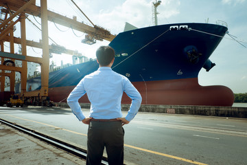 Manager in logistics and transport concept at Port.