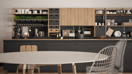 Minimalist white and gray wooden kitchen close-up, scandinavian classic interior design
