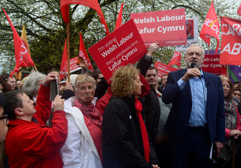 Jeremy Corbyn the leader of Britain's opposition Labour party speaks to a crowd of supporters on the common at Whitchurch, Cardiff