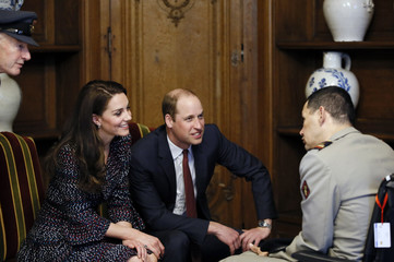 Britain's Catherine the Duchess of Cambridge and Prince William visit the military hospital at the Hotel des Invalides in Paris