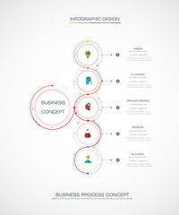 Vector Infographic 3D circle label design with arrows sign and 5 options or steps. For business, infograph template, process infographics, diagram chart, flowchart, processes diagram, time line