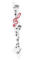 Musiknoten mir rotem Violinschlüssel