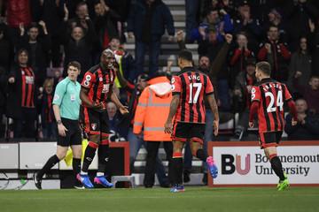 Bournemouth's Benik Afobe celebrates scoring their first goal with Joshua King