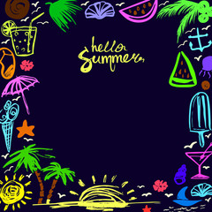 invitation card on happy summer vector