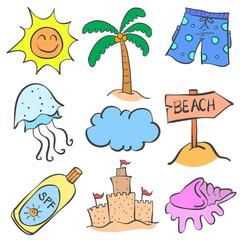 Doodle of element summer set collection