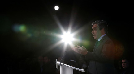 Francois Fillon, former French Prime Minister, member of the Republicans political party and 2017 presidential election candidate of the French centre-right delivers a speech at a campaign rally in Courbevoie