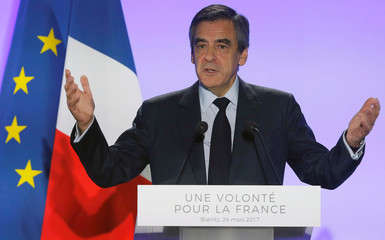 Fillon, French presidential election candidate and former PM, delivers a speech at a campaign rally in Biarritz