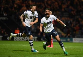 Preston's Callum Robinson celebrates scoring their fifth goal