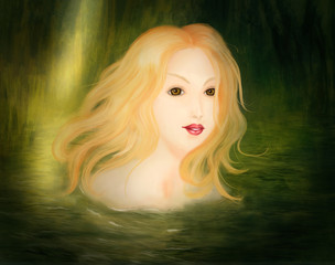 Blonde woman taking a bath in the nature - Digital Painging
