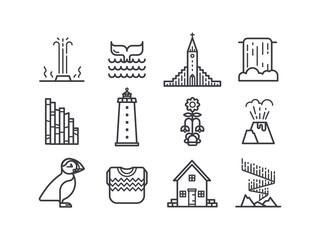 Iceland icons and symbols.