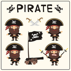 Set isolated cartoon pirate in black pirate hat with Jolly Roger. Collection funny pirate in different poses with pistols, sword, ship gun and flag.