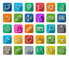 Science, icons, contour drawing, color, vector.  Linear white icons on a colored background with a shadow. Different types of scientific activities. Vector clip art.