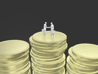 Business figure to shake hands on gold coins