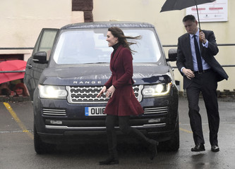 Britain's Catherine, Duchess of Cambridge, leaves after visiting the Caerphilly Family Intervention Team in Caerphilly