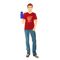 Man in t-shirt and jeans with plastic flask of water
