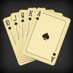 Royal Flush of spades - vintage playing cards vector illustration