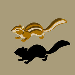 chipmunk style vector illustration Flat silhouette