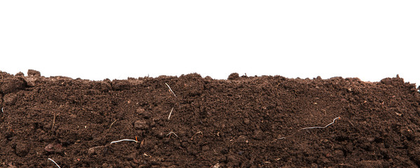 Handful of dark brown soil isolated on white background