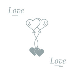 Cute vector illustration of love symbols: heart air balloons icon and two hearts. Romantic collection.