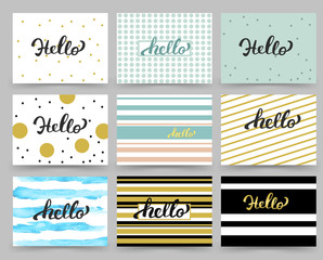 Set of Flyer, Brochure Design Templates with Hello Lettering. Abstract Modern Backgrounds.