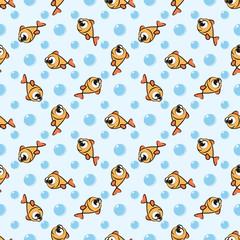 Seamless pattern with cute golden cartoon fish