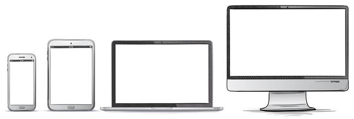Computer Screen, Tablet PC, Smart Phone, Laptop Hand Drawn Vector illustration Set.