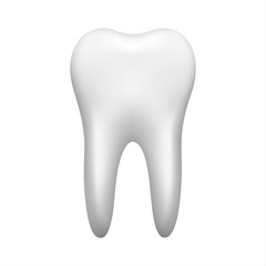 White tooth isolated on white background, stomatology icon, realistic vector illustration
