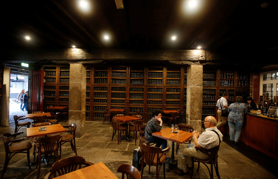 A general view shows the tavern at the Blandy's wine cellar in Funchal