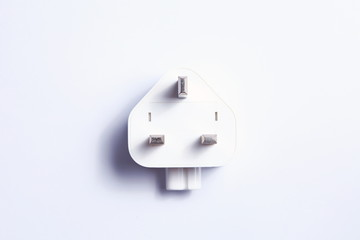 Electrical plug white color isolated on light grey background represent electrical plug equipment on european country usage.