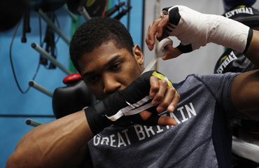 Anthony Joshua during the media session