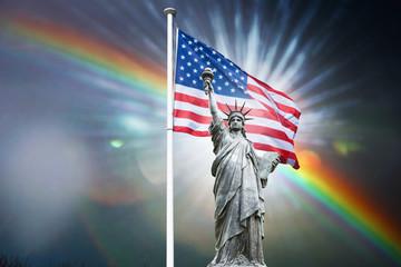 liberté symbole statue statue de la liberté torche amérique usa états-unis us libre pays drapeau arc en ciel