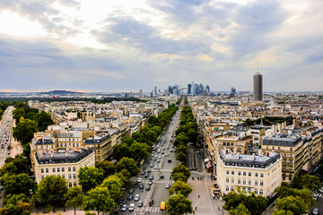 View of Champs Elysees from the Arc de Triomphe in Paris, France