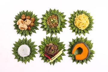 Set of six Northern Thai Food on green banana leaf basket