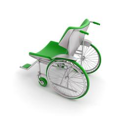 Profile of a green modern wheelchair