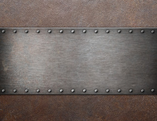old steel plaque on rust metal background 3d illustration