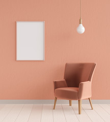 Mockup poster in the interior with chair and a lamp in trendy colors, 3D rendering
