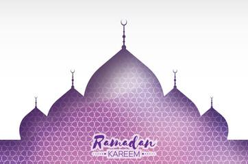 Purple Ramadan Kareem Greeting card.. Arabic window Mosque. Paper cut art style. Arabesque pattern. Vector