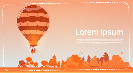 Colorful Air Balloon Flying In Sky At Sunset Banner Flat Vector Illustration