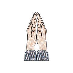 color pencil drawing of hands in position of pray in frontal view vector illustration