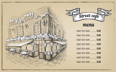 Amsterdam London Europe hand drawn. Cafe sketch, vector illustration