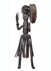 Dancing shaman with a tambourine, an African wrought iron vintage handmade figurine