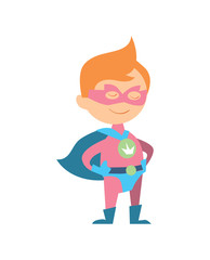 Funny kid in superman costume vector illustration isolated on white background. Boy in superhero costume character in flat design.