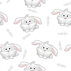 seamless pattern square  rabbit with carrot in vector