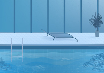 Public swimming pool inside interior. vector illustration.