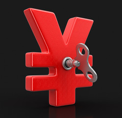 Yen Sign with winding key. Image with clipping path