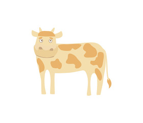 Young cow hand drawn vector illustration isolated on white background. Cute cattle farm animal, domestic livestock in cartoon style.
