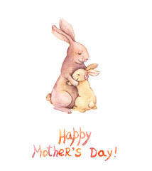 Card for Mothers day - mother rabbit embrace her adorable kid. Aquarelle art