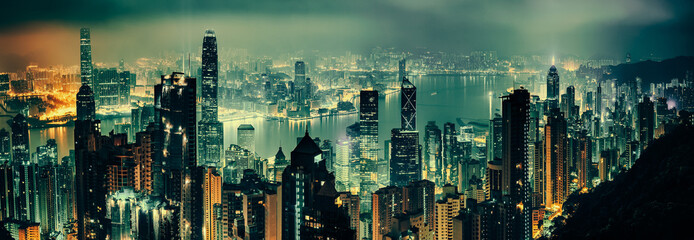Panoramic shot of evening hong kong Wall mural
