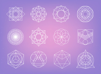 Sacred geometry symbols collection. hipster, abstract, alchemy, spiritual, mystic elements set.