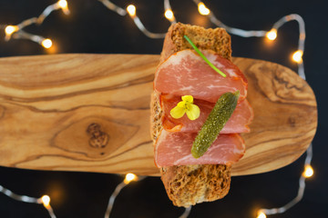 Lomo on cereal loaves. The marble ham from the pig is the  Pata Negra. Spanish cuisine.